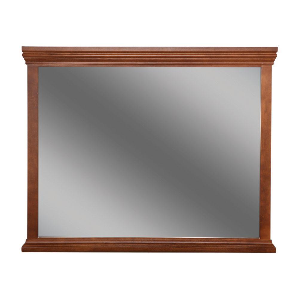 Brentwood 35 in. L x 42 in. W Framed Wall Mirror in Amber