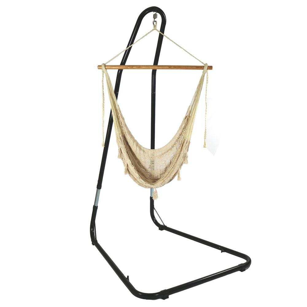 Sunnydaze Decor 3 ft. Mayan Hammock Chair with Wood Spreader Bar and Stand in Natural