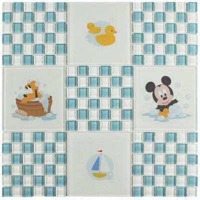 Baby Blue 11-3/4 in. x 11-3/4 in. x 5 mm Glass Mosaic Tile