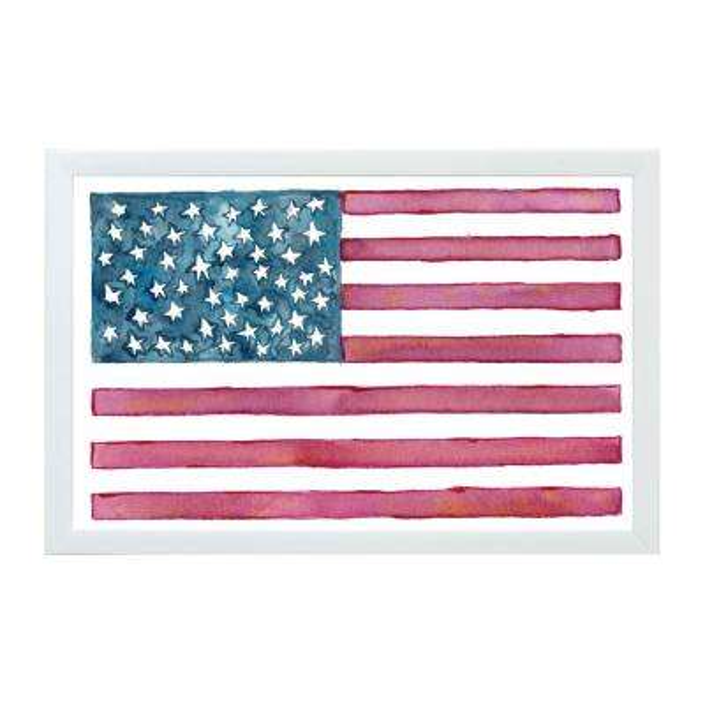 Watercolor Flag, WHITE FRAME, Magnetic Memo Board