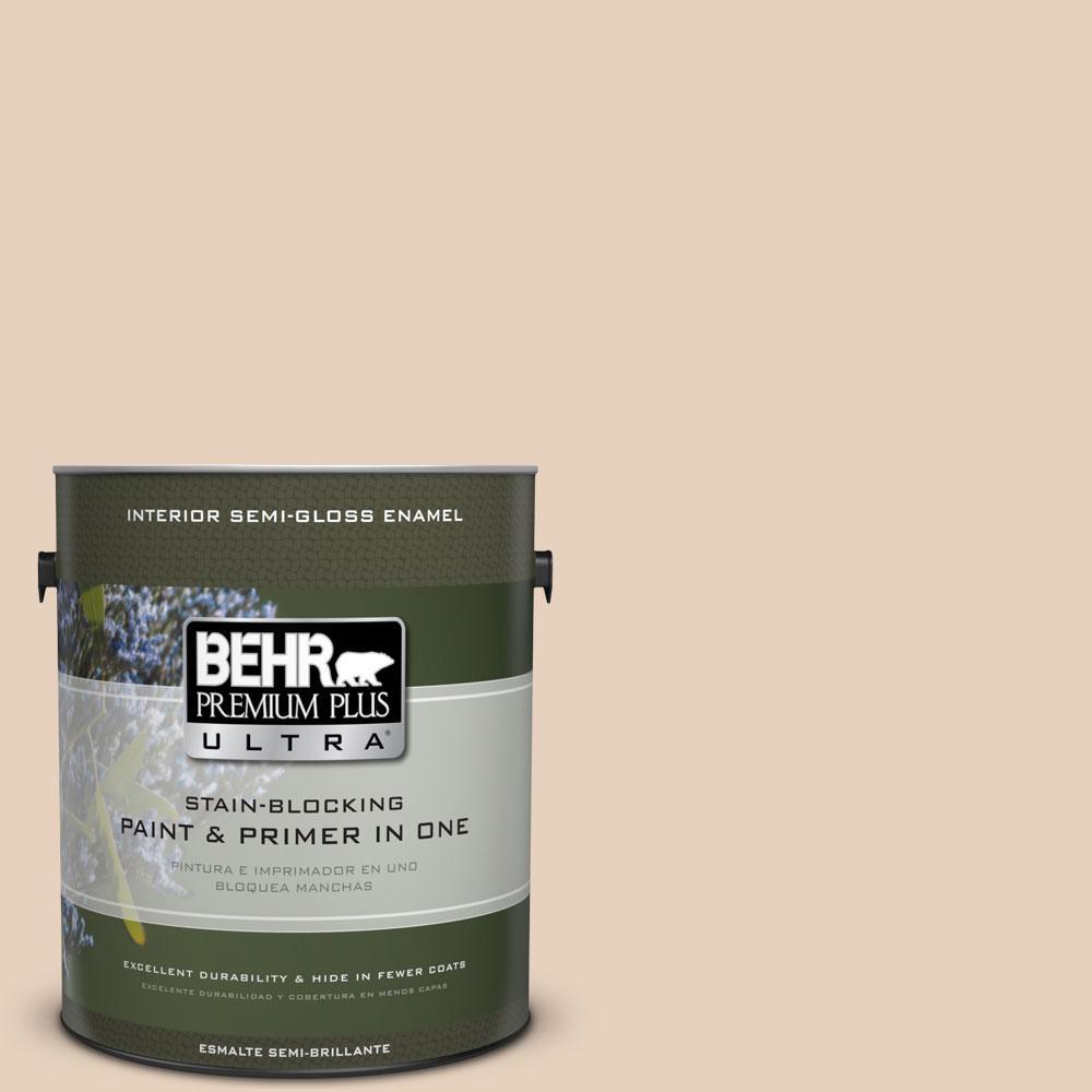 BEHR Premium Plus Ultra 1-gal. #ECC-53-1 Mown Hay Semi-Gloss Enamel Interior Paint
