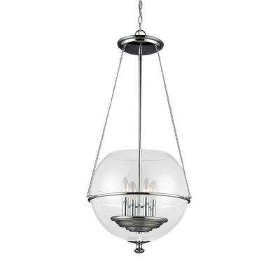 Havenwood 17.5 in. W x 34.25 in. H 4-Light Chrome Mid-Century Modern Medium Globe Indoor Pendant