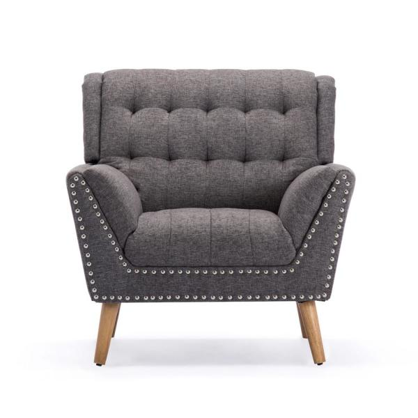 Noble House Delia Contemporary Tufted Charcoal Tweed Fabric Club Chair with