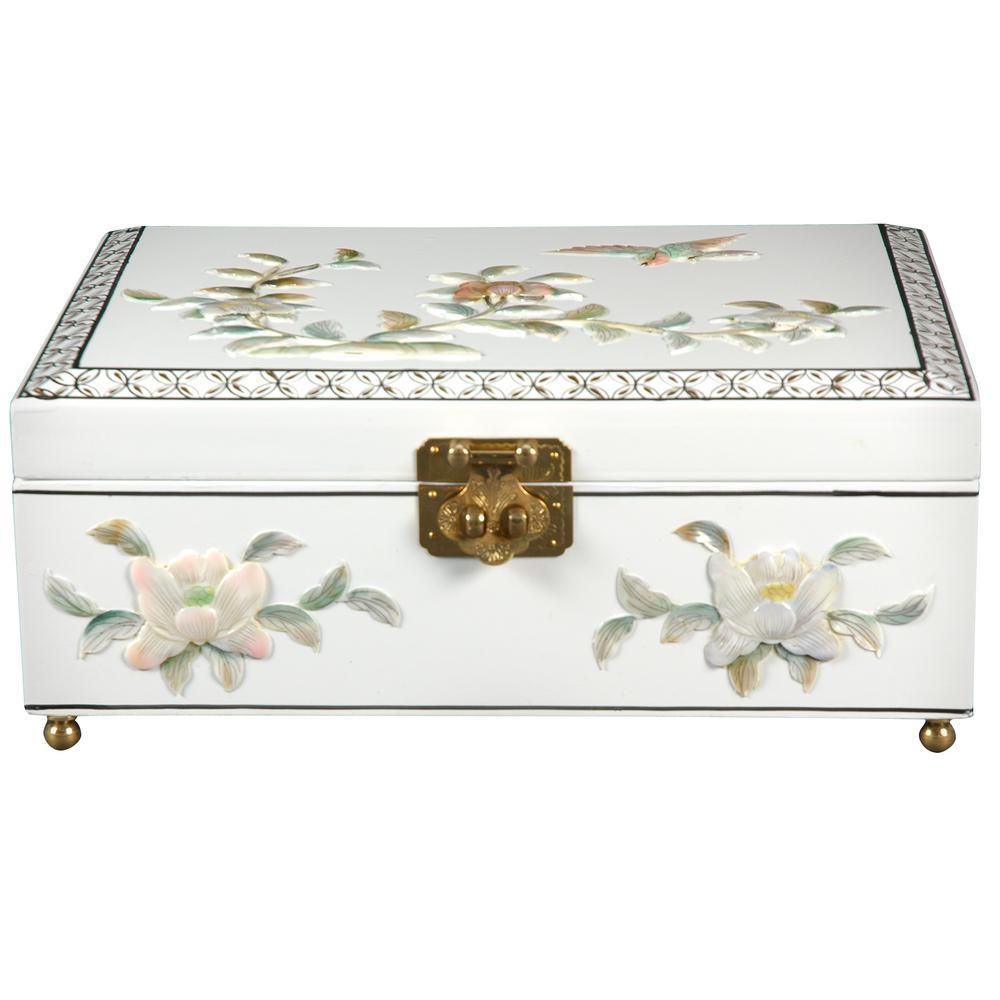 Oriental Furniture White Clementina Lacquer Jewelry Box
