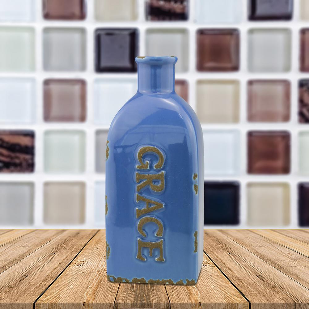 6.25 in. Ceramic Square Grace Vase in Worn Summer Blue