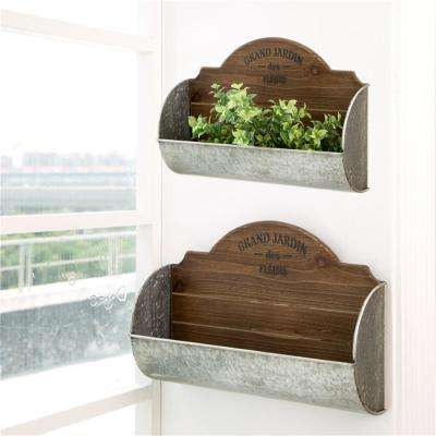 Farmhouse Galvanized Metal and Wooden Wall Planter (Set of 2)