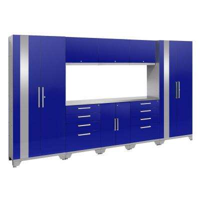 Performance 2.0 72 in. H x 132 in. W x 18 in. D Garage Cabinet Set in Blue (9-Piece)