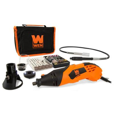 1.4 Amp High-Powered Variable Speed Rotary Tool with Cutting Guide, LED Collar, 100+ Accessories, Case and Flex Shaft