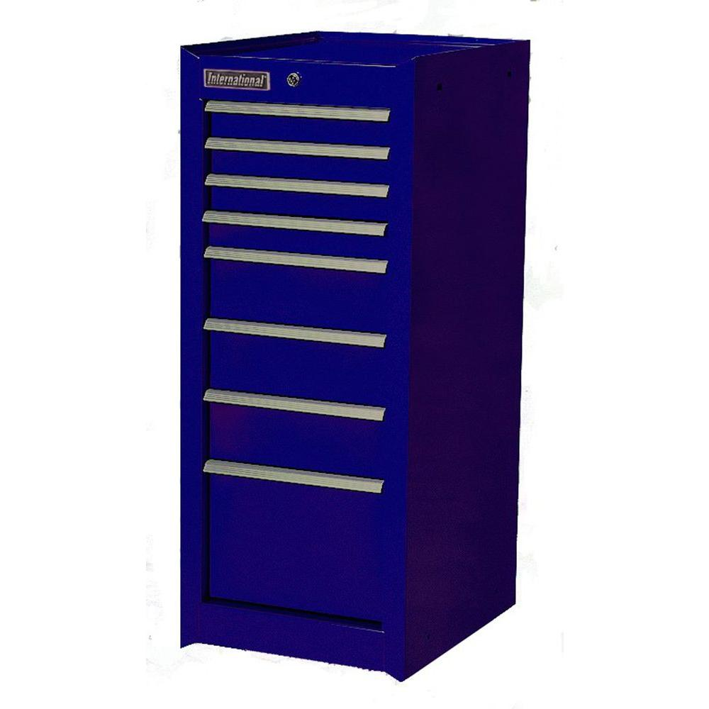 International 15 in. 8-Drawer Ball Bearing Slides Side Cabinet in Blue
