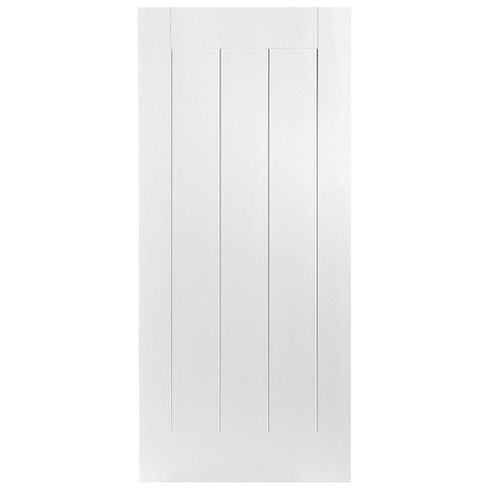 Masonite 32 in. x 80 in. Saddlebrook 1-Panel Plank Left-Handed Hollow-Core Smooth Primed Composite Single Prehung Interior Door