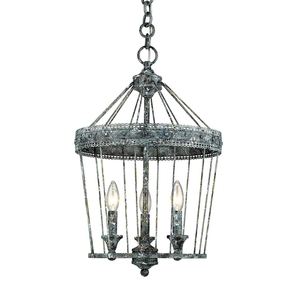 Golden Lighting Ferris 3 Light Blue Verde Patina Chandelier