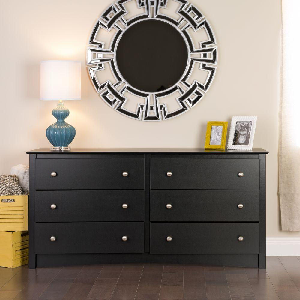 Sonoma 6 Drawer Black Dresser