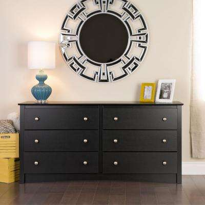 Sonoma 6-Drawer Black Dresser