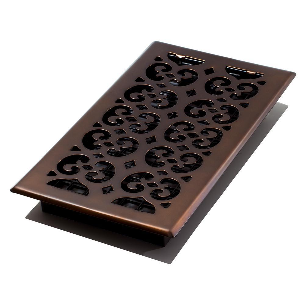6 in. x 12 in. Scroll Rub Bronze Floor Register