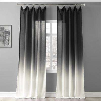Ombre Black Faux Linen Polyester Sheer Curtain - 50 in. W x 84 in. L