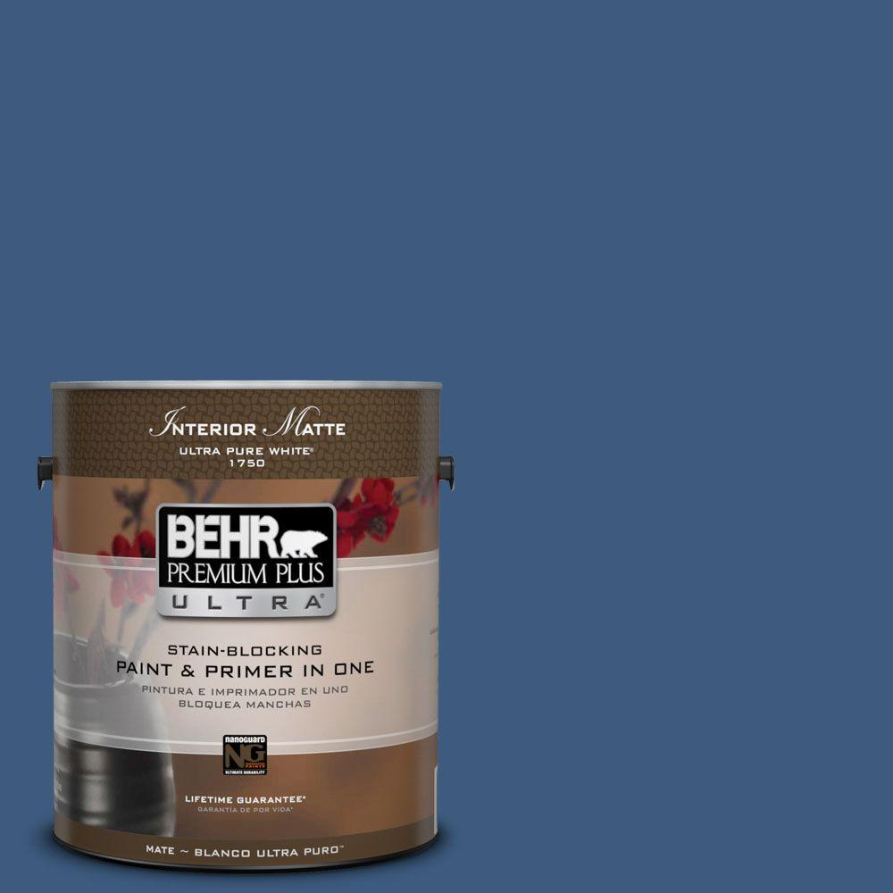 BEHR Premium Plus Ultra 1 gal. #M520-7 Admiral Blue Matte Interior Paint