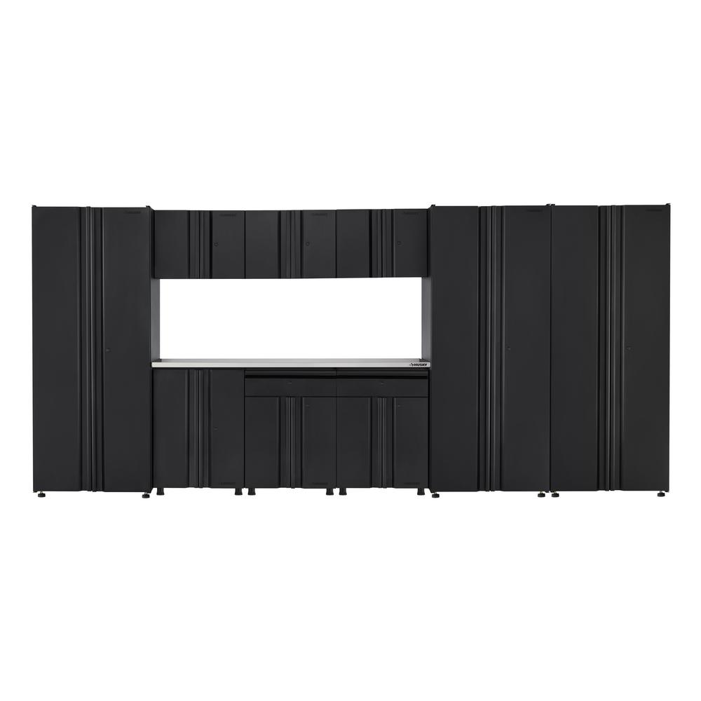 Husky Welded 163 in. W x 75 in. H x 19 in. D Steel Garage Cabinet Set in Black (10-Piece with Stainless Steel Work Surface)