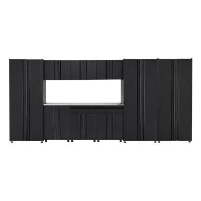 Husky Welded 163 in. W x 75 in. H x 19 in. D Steel Garage Cabinet Set in Black (10-Piece with Stainless Steel Work Surface),...