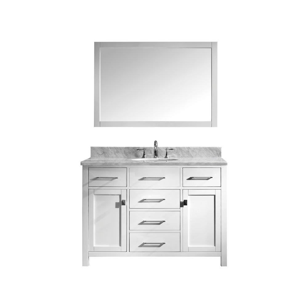 Virtu USA Caroline 48 in. W x 36 in. H Vanity with Marble Vanity Top in Carrara White with White Round Basin and Mirror