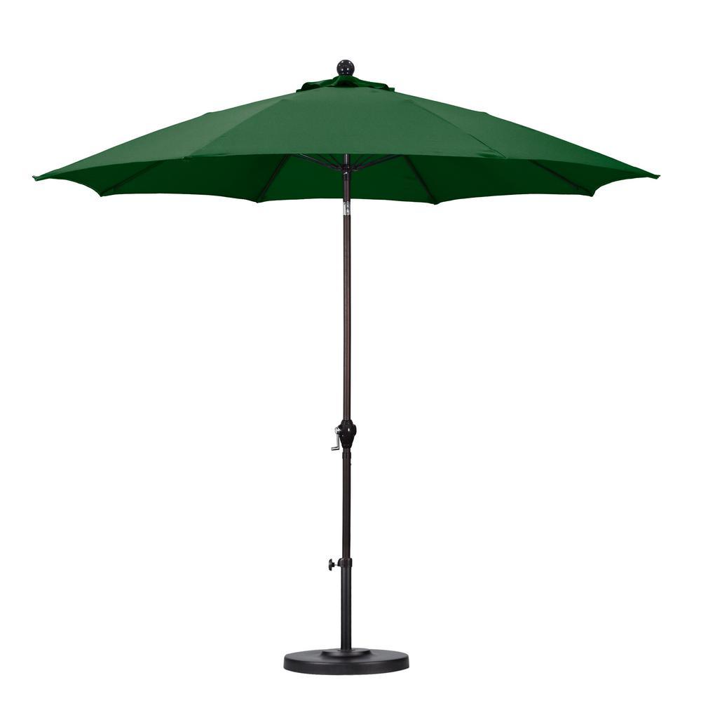 California Umbrella 9 ft. Fiberglass Push Tilt Patio Umbrella in Hunter Green Polyester