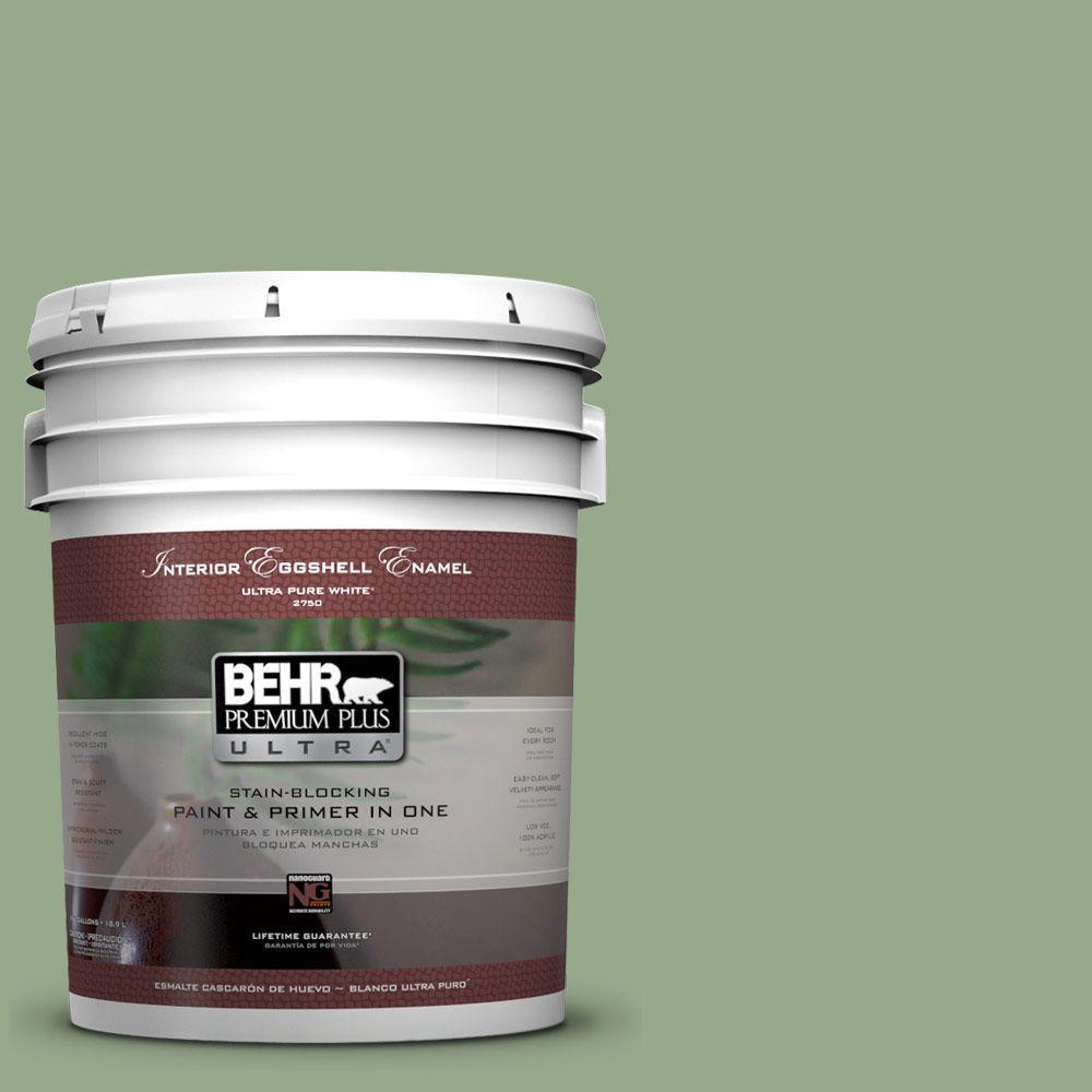 BEHR Premium Plus Ultra 5-gal. #PPU11-5 Pesto Green Eggshell Enamel Interior Paint