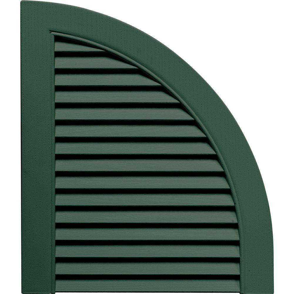 Builders Edge 15 in. x 17 in. Louvered Design Forest Green Quarter Round Tops Pair #028