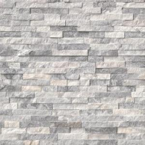Alaska Gray Ledger Panel 6 in. x 24 in. Natural Marble Wall Tile (6 sq. ft. / case)