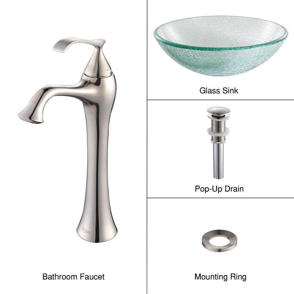 KRAUS Broken Glass Vessel Sink in Clear with Ventus Faucet in Brushed Nickel