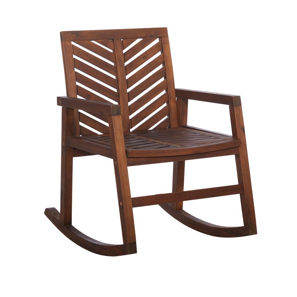 83f814c3cb35 Walker Edison Furniture Company. Dark Brown Chevron Outdoor Acacia Wood  Rocking Chair