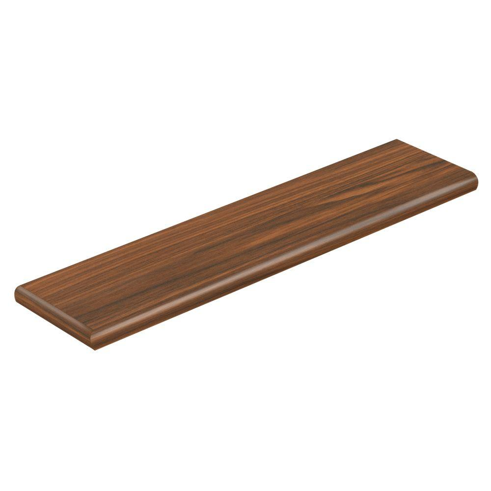 Cap A Tread Deep Expres Walnt/New Ellen Hick 94 in. L x 12-1/8in. D x 1-11/16 in. Tall Laminte Left Retrn to Cover Stairs 1in. Thick