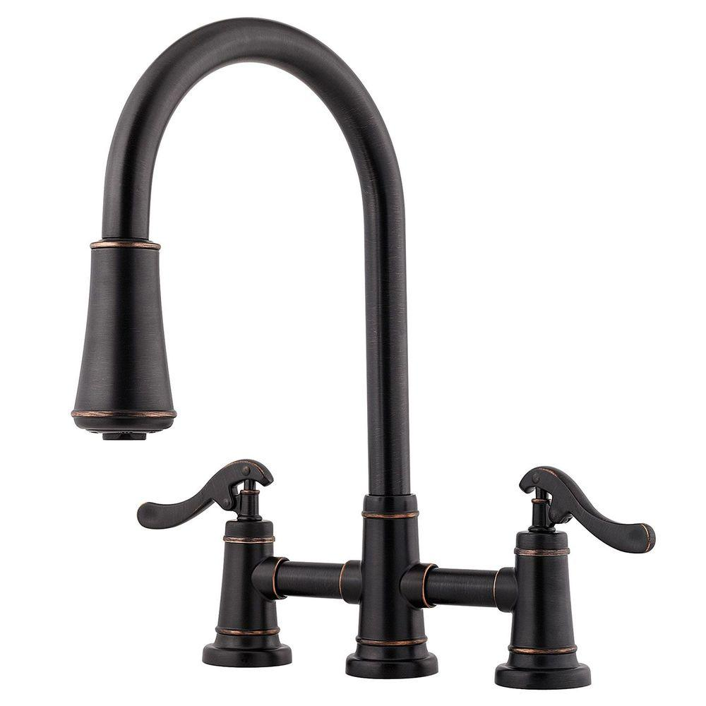 Pfister Ashfield 2 Handle Pull Down Sprayer Kitchen Faucet In Tuscan