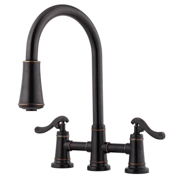 Ashfield 2-Handle Pull-Down Sprayer Kitchen Faucet in Tuscan Bronze
