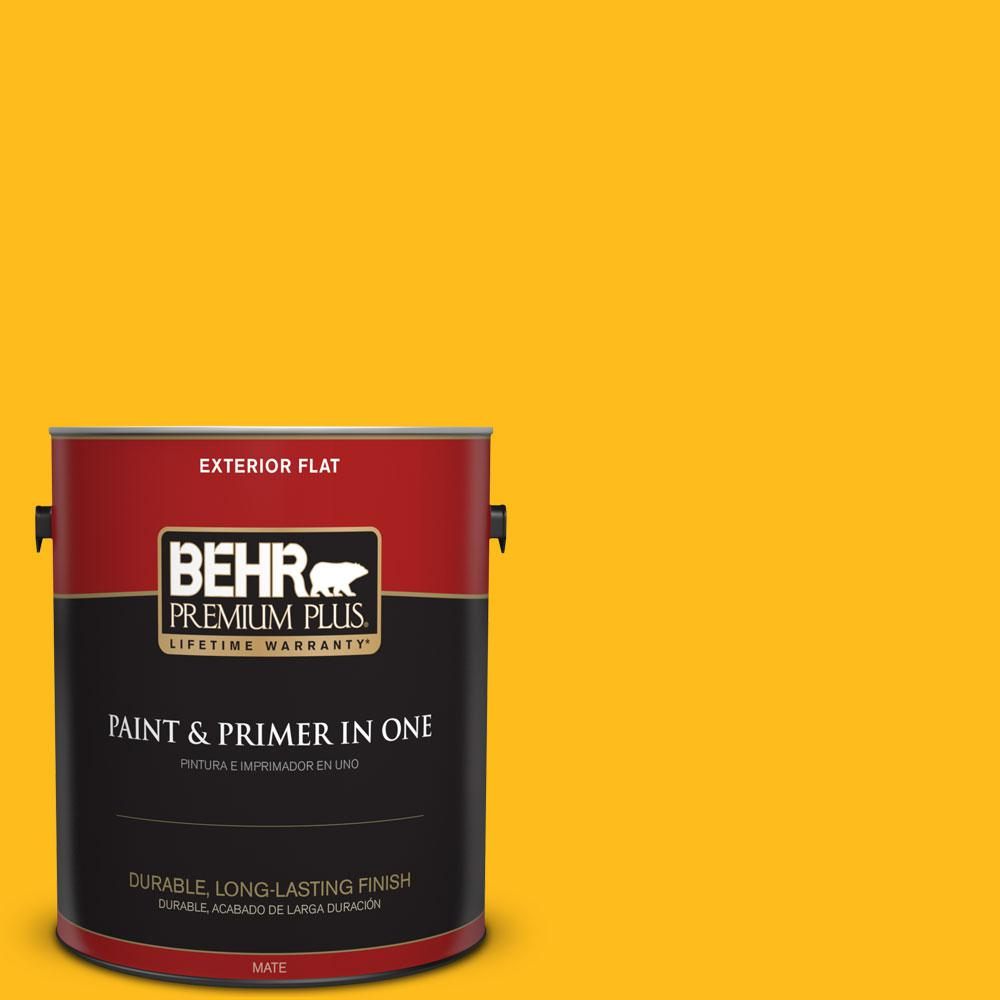 BEHR Premium Plus 1-gal. #P290-7 Laser Lemon Flat Exterior Paint