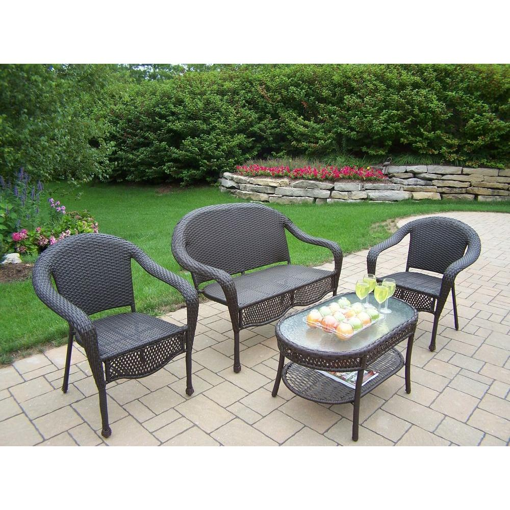 Oakland Living Elite Resin 4-Piece All-Weather Wicker Patio Seating Set