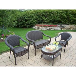 Oakland Living Elite Resin 4-Piece All-Weather Wicker ... on Oakland Living Patio Sets id=69929
