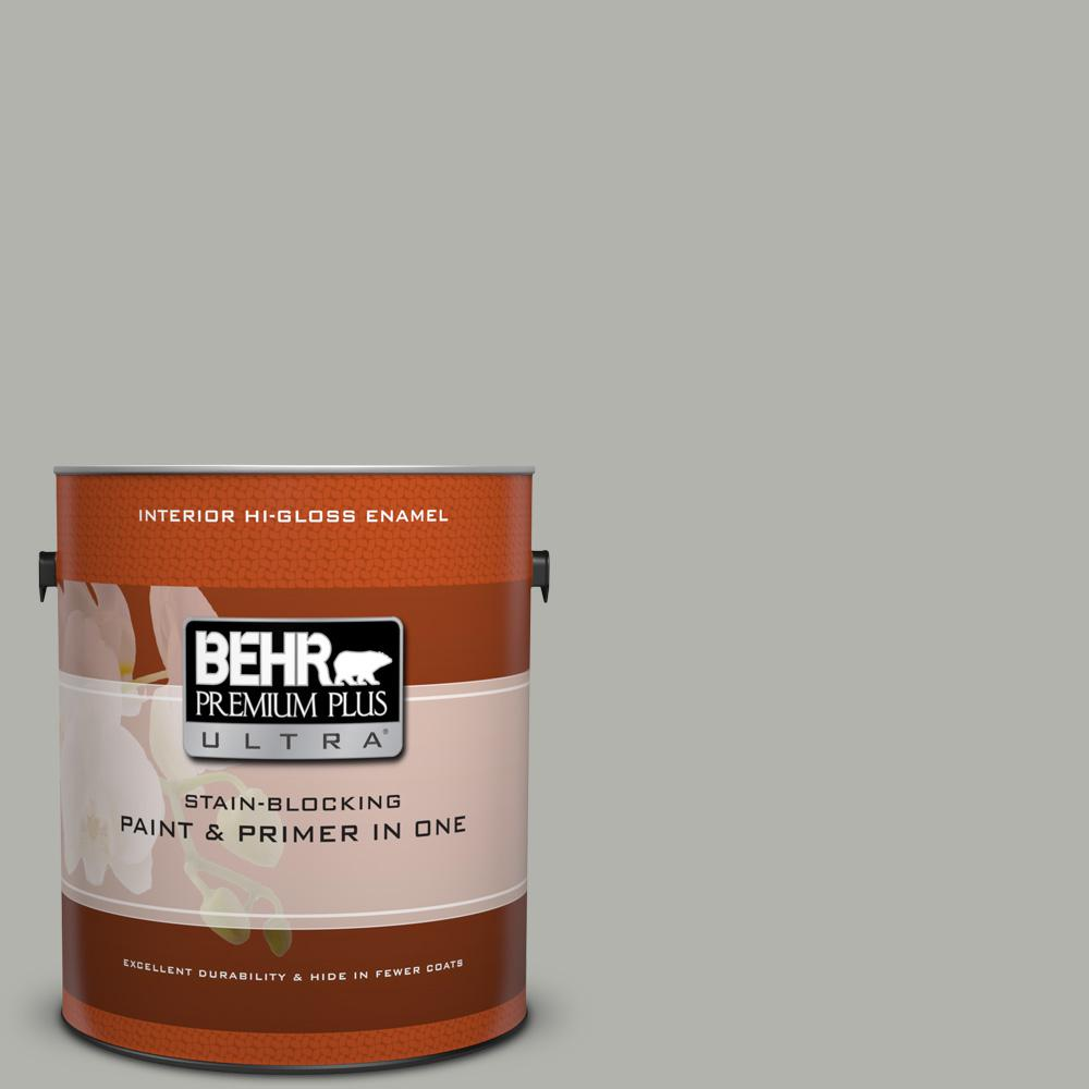 1 gal. #BXC-25 Colonnade Gray Hi-Gloss Enamel Interior Paint and Primer