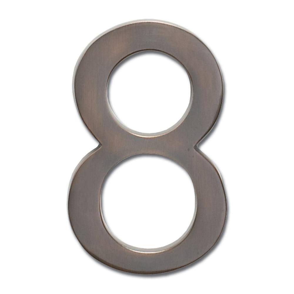 4 in. Dark Aged Copper Floating House Number 8