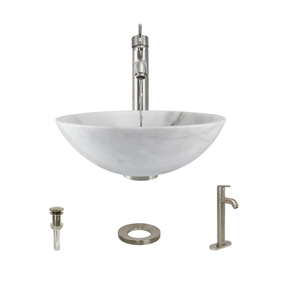 Stone Vessel Sink in Honed Basalt White Granite with 718 Faucet