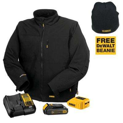 Unisex Large Black 20-Volt/12-Volt MAX Heated Work Jacket Kit with 20-Volt Lithium-Ion MAX Battery and Charger