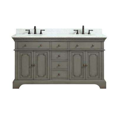 Hastings 61 in. W x 22 in. D x 35 in. H Vanity in French Gray with Marble Vanity Top in Carrera White with White Basin