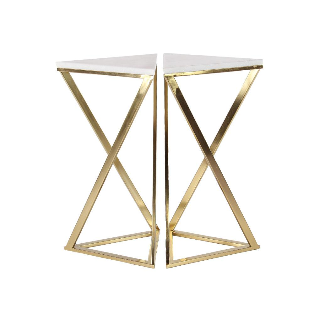 White Hourglass Accent Tables with Gold Frames (Set of 2)-45843 ...