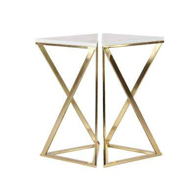 White Hourglass Accent Tables with Gold Frames (Set of 2)