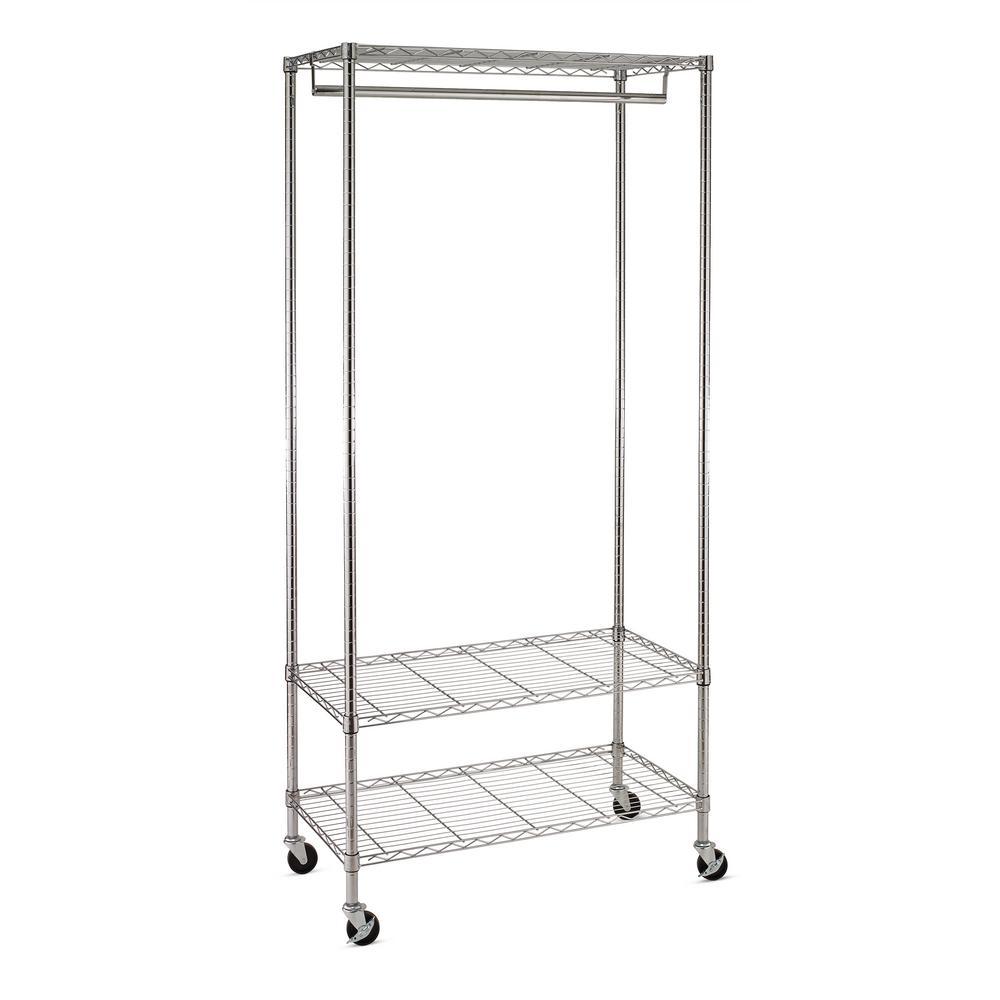 Honey-Can-Do 3-Shelf Steel Wheeled Deluxe Garment Rack in Chrome, 17.7 in. L x 35.83 in. W x 76.98 in. H