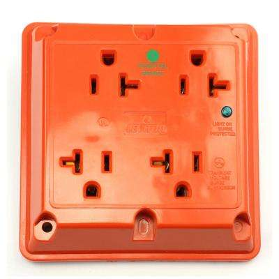 20 Amp Hospital Grade Extra Heavy Duty 4-in-1 Grounding Surge Outlet with Indicator Light, Red