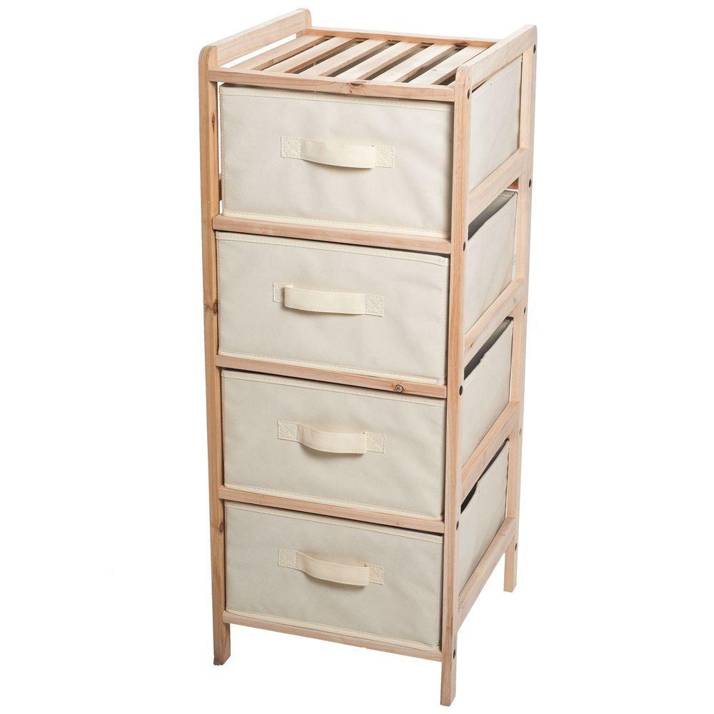 4-Drawer Organization Wood Fabric Unit with Shelf Top