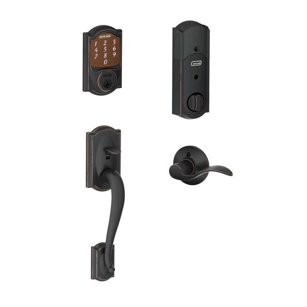 Schlage Camelot Aged Bronze Sense Smart Door Lock with Left Handed Accent Lever Door Handleset