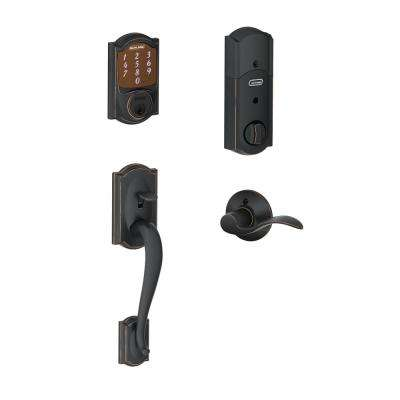 Camelot Aged Bronze Sense Smart Lock with Left Handed Accent Lever Door Handleset
