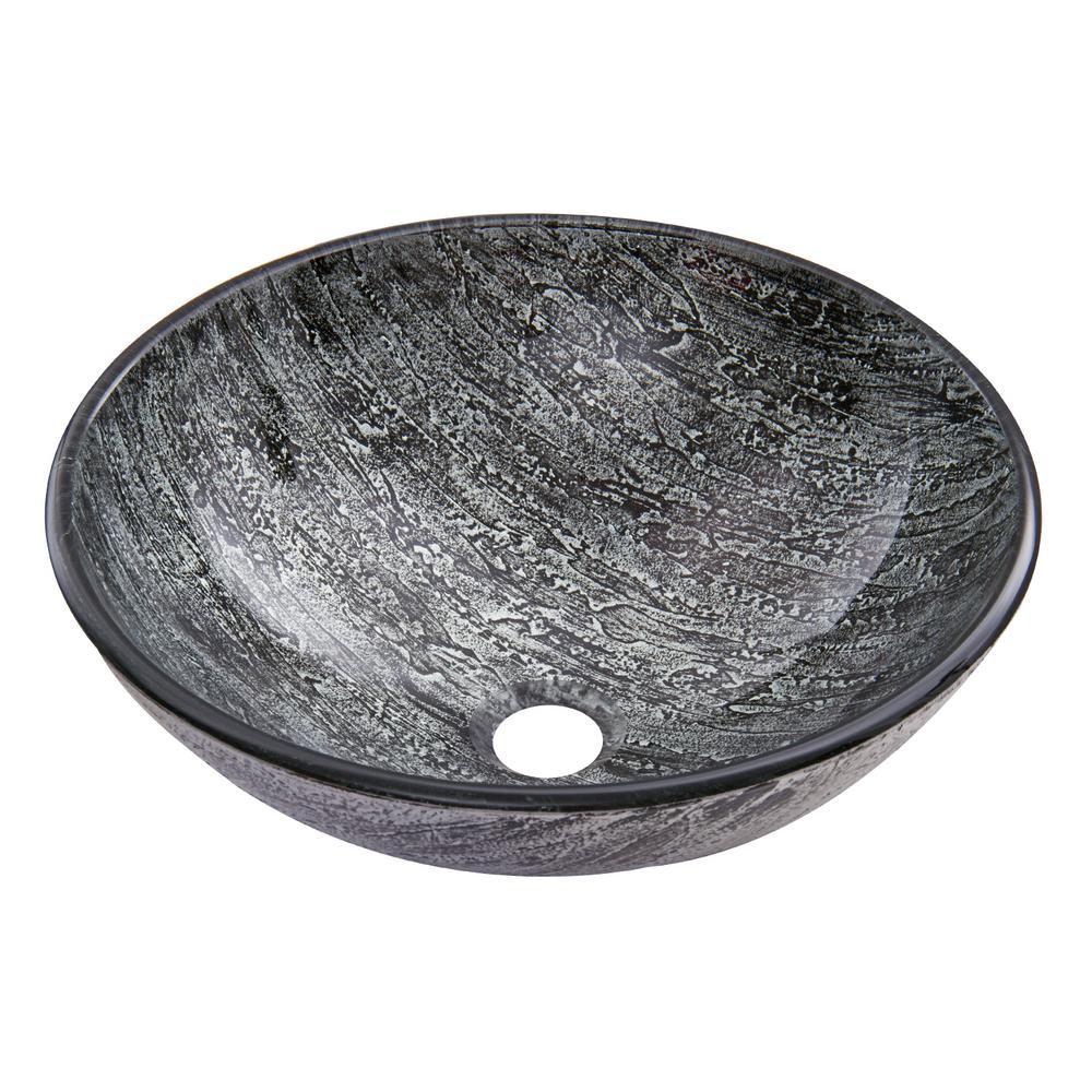 Titanium Handmade Glass Round Vessel Bathroom Sink in Slate Grey