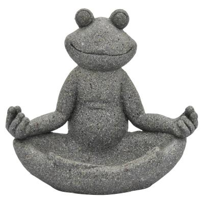 14 in. L x 9 in. W x 13 in. H Resin/Magnesium Frog Decoration in Gray