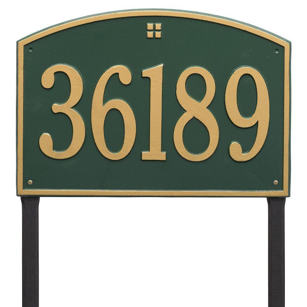 Cape Charles Rectangular Estate Green/Gold Lawn 1-Line Address Plaque